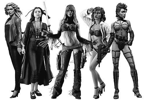 The Girls of Sin City Action Figure 5 Pack Black and White Version