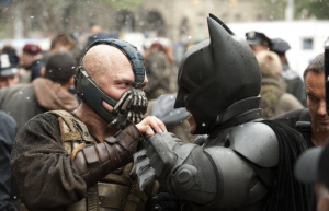 Bane (Tom Hardy) faces off with Batman